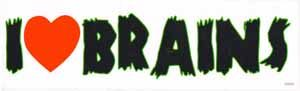 I Heart Brains Bumper Sticker
