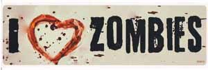 I Heart Zombies Bumper Sticker