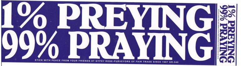 1% Preying 99% Praying Bumper Sticker